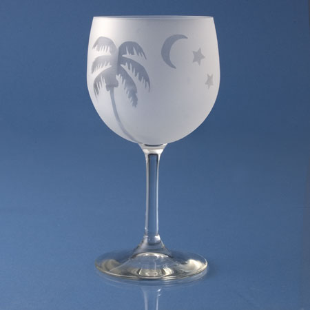Frosted Palm White Wine Glasses - Set of 4