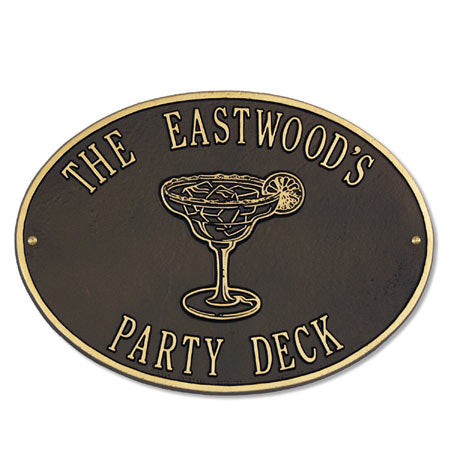 Personalized Metal Deck Plaque-Margarita