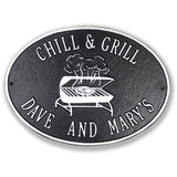 Personalized Metal Deck Plaque-Chill & Grill