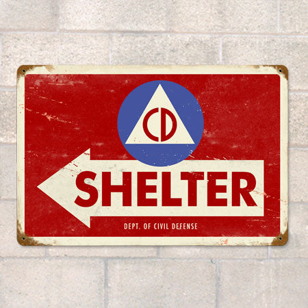Civil Defense Metal Sign