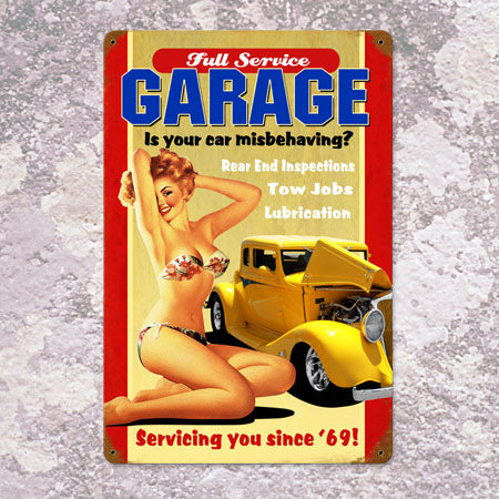 Full Service Garage Metal Sign