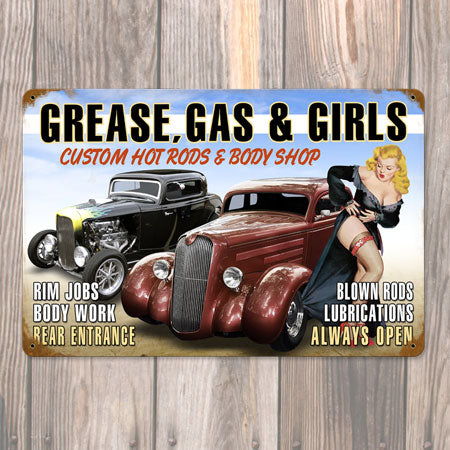 Grease, Gas and Girls Metal Sign