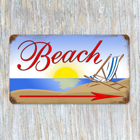 Beach Arrow Metal Sign