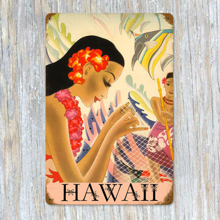 Hawaii Fishnet Metal Sign