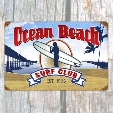 Ocean Beach Surf Club Metal Sign
