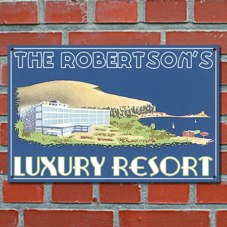 Personalized Luxury Resort Metal Sign