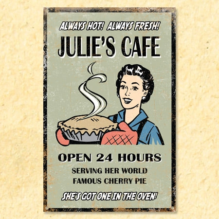 Personalized Vintage Café Metal Sign