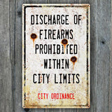 Vintage Metal Firearms Sign With Bullet Holes