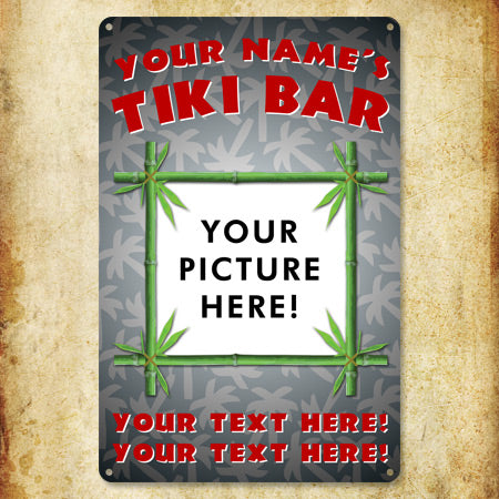 Personalized Metal Tiki Photo Sign