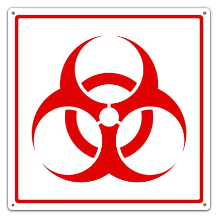 Metal Biohazard Symbol Utility Sign