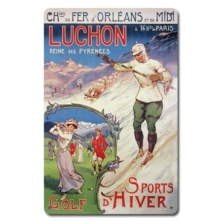 Luchon Golf/Ski Metal Sign