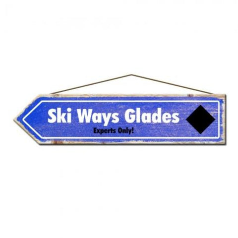 Ski Ways Glades Rustic Pine Ski Sign