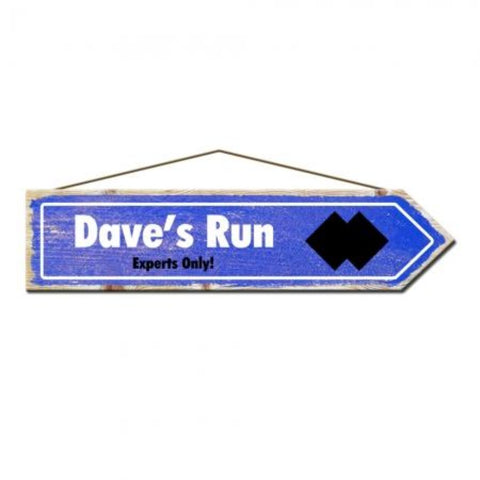 Rustic Pine Dave's Run Ski Sign