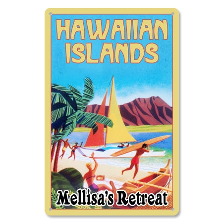 Personalized Metal Hawaiian Islands Sign
