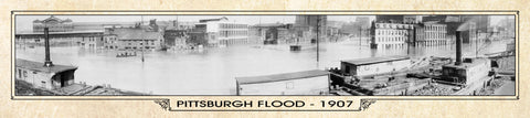 Vintage Panorama Metal Print - Pittsburgh Flood 1907