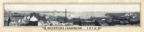 Vintage Panorama Metal Print - Boston Harbor 1912