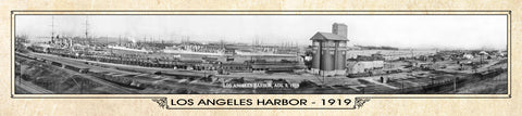 Vintage Panorama Metal Print - Los Angeles Harbor 1919