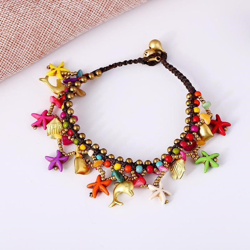 Bell, Dolphin, Starfish And Beads Chain Anklet