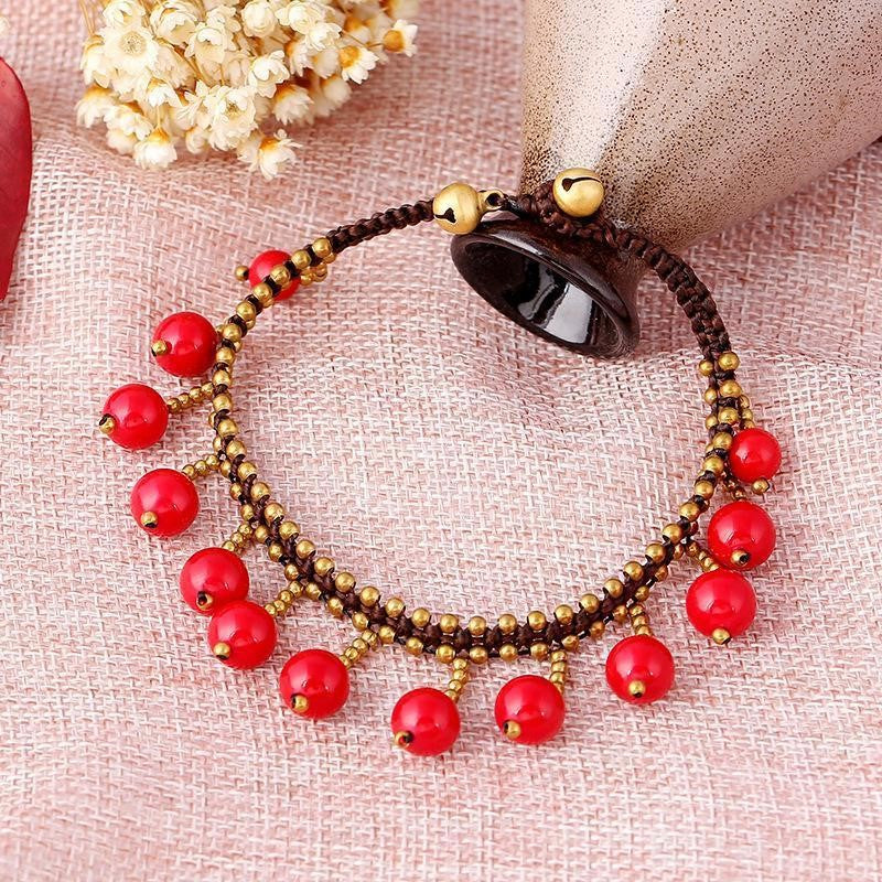 Handmade Tassel Red Beads Anklet