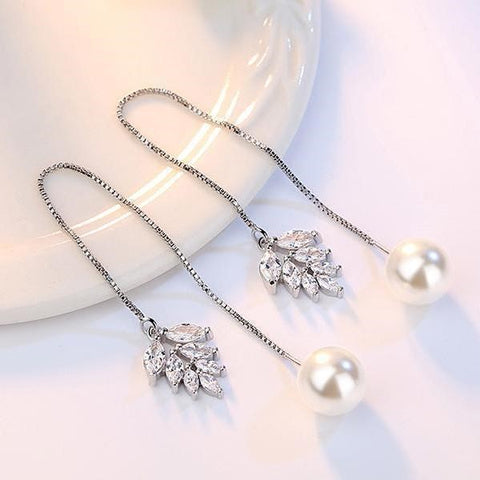 Long Chain Pearl Drop Dangle Earrings
