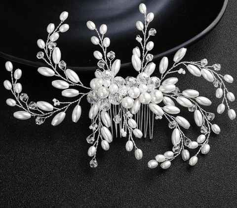 Simulated Pearls Beaded Flower Hair Comb - Accessories - LoxLux Jewelry