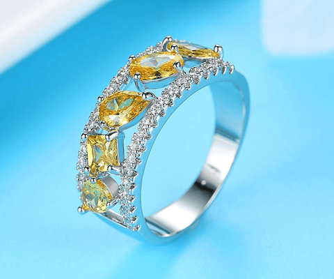 Hollow Irregular And Square Shape Yellow Natural Stone Ring - Ring - LoxLux Jewelry
