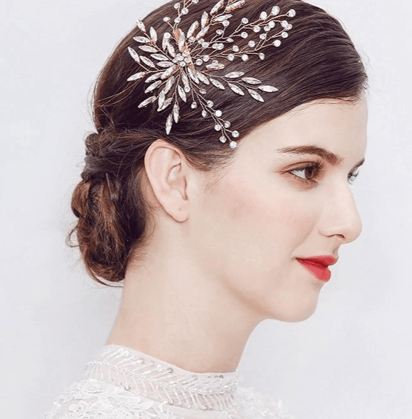 Marquise Crystal Flower Leaf Hair Clip Pin Headpiece Barrette