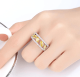 Hollow Irregular And Square Shape Yellow Natural Stone Ring