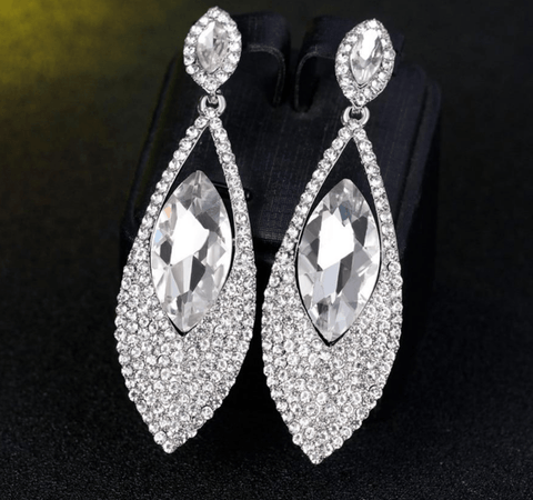 Big Rhinestone Crystal Statement Drop Earrings - Earrings - LoxLux Jewelry