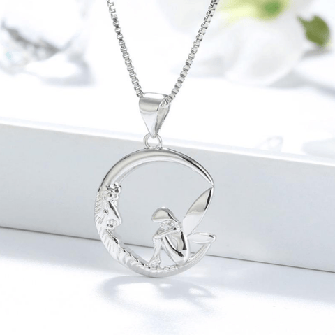 925 Silver Fairy Sitting On Moon Pendant Necklace -  - LoxLux Jewelry