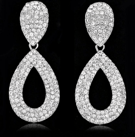 Rhinestone Teardrop Hollow Dangle Drop Earrings - Earrings - LoxLux Jewelry