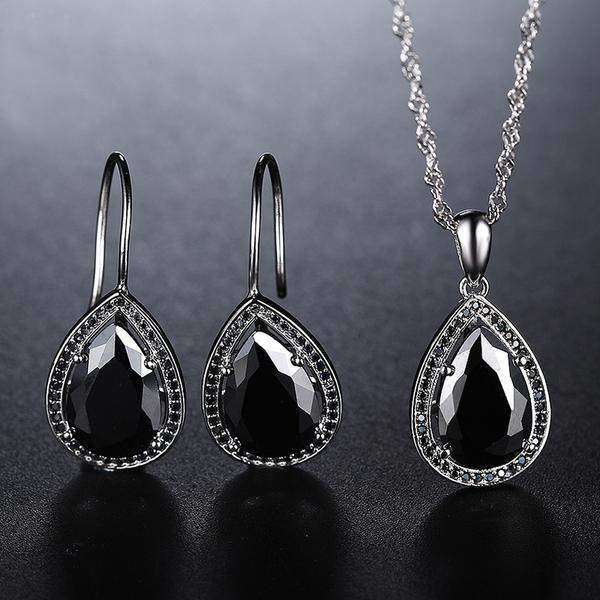 Cubic Zirconia Black or Crystal Silver Water Drop Earrings & Necklace Jewelry Set - JEWELRY SET - LoxLux Jewelry