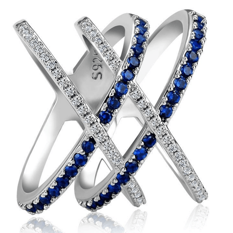Blue Cubic Zirconia Double Cross Ring - Ring - LoxLux Jewelry