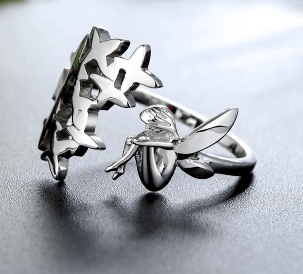 925 Sterling Silver Adjustable Fairy With Flowers Romantic Ring - Ring - LoxLux Jewelry