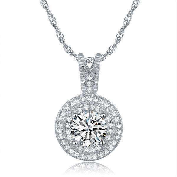 Cubic Zirconia Micro Pave 1.25ct Pendant Necklace - necklace - LoxLux Jewelry