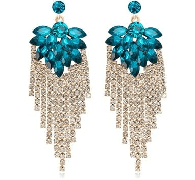 Red / Blue Leaf Cluster Crystal Long Drop Tassel Earrings