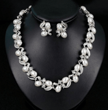 Simulated Pearl Leaf And Beads Necklace And Stud Earrings Set