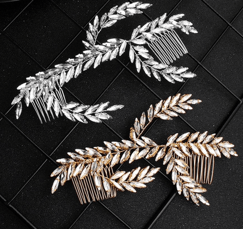 Marquise Crystal Leaf Branch Hair Comb Headpiece