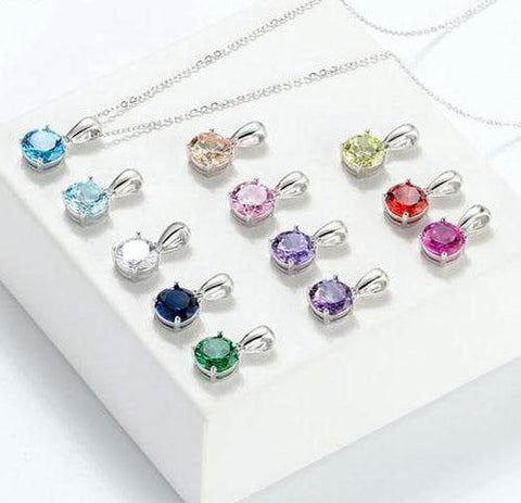 AAA CZ Zircon 925 Sterling Silver 12 Color Month Lucky Birthstone Pendant Necklace