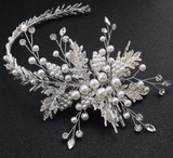 Marquise Crystal Simulated Pearl Flower Hair Barrette Headpiece