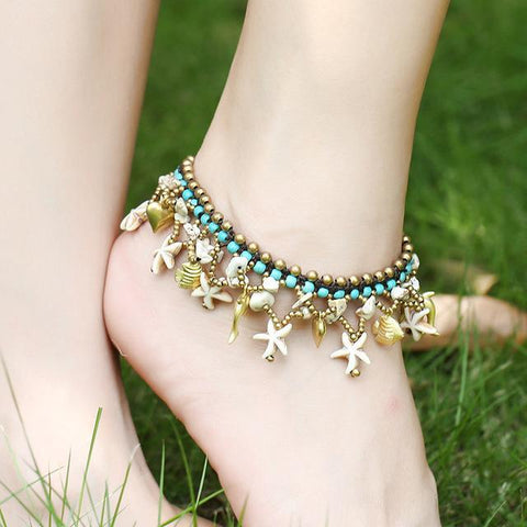 Bell, Dolphin, Starfish And Beads Chain Anklet - Accessories - LoxLux Jewelry