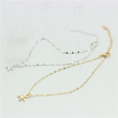 Gold And Silver Star Pattern Charm Anklet - Accessories - LoxLux Jewelry