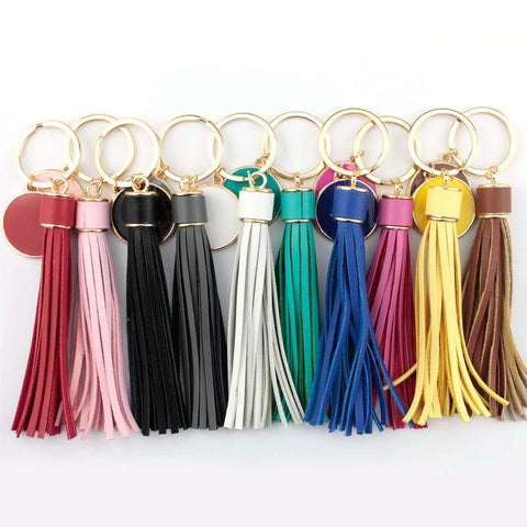 Gold Plated Leather Tassel Bag Key Chain - Accessories - LoxLux Jewelry