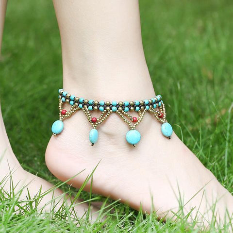 Hollow Triangle Pendant Wax Rope Beads Anklet - Accessories - LoxLux Jewelry