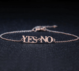 Rose Gold Romantic Adjustable Yes No Letter Charm Bracelet
