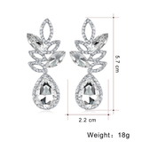 Teardrop Crystal Hollow Leaf Drop Earrings