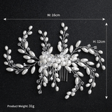 Simulated Pearls Beaded Flower Hair Comb