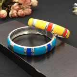 Brightly Colored Metal Alloy Statement Cuff Bracelet - BRACELET - LoxLux Jewelry