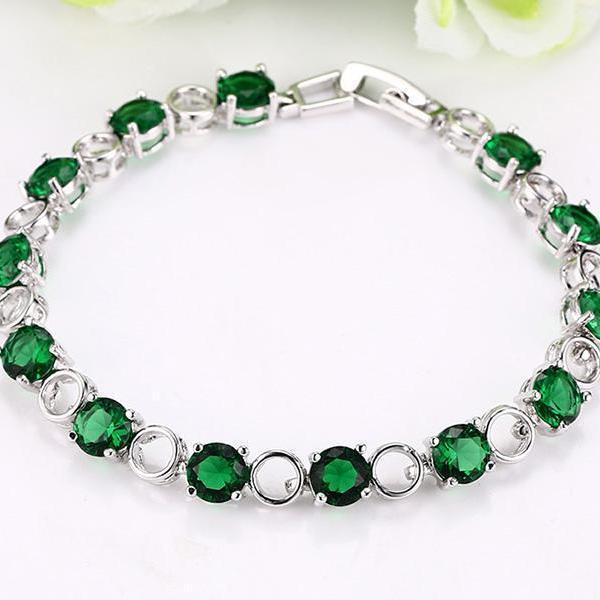 Colorful Stainless Steel Emerald/Ruby/Cubic Zirconia Tennis Bracelet - BRACELET - LoxLux Jewelry
