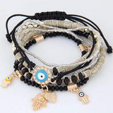 Evil Eye Fatima Multilayer Rhinestone Crystal Braided Bangle Bracelet - BRACELET - LoxLux Jewelry